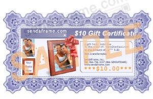 $10 SendAFrame Gift Certificate<br>Your Choice: Instant Print or Email