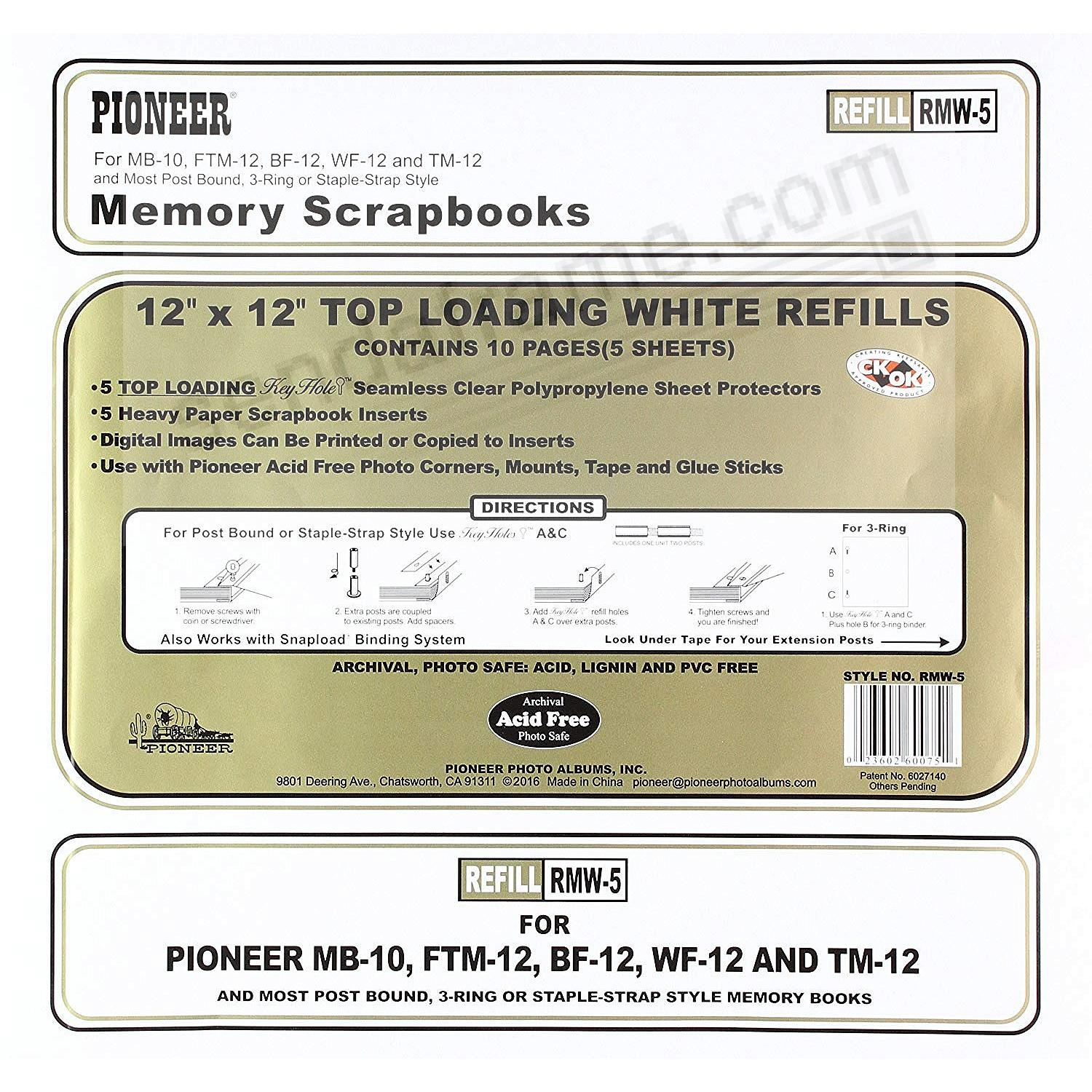 Genuine Pioneer® 12x12 Clear top-loading white refill pack for your scrapbooks