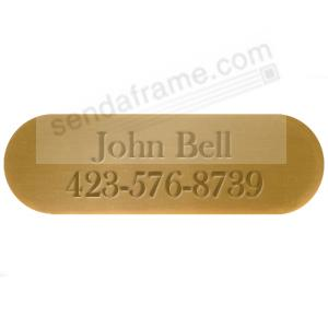 OVAL engravable brass 3x1in permanent-stick name plate