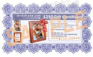 $250 SendAFrame Gift Certificate<br>Your Choice: Instant Print or Email