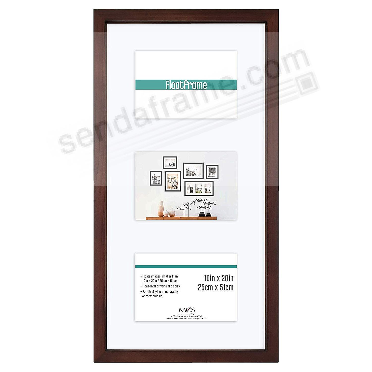 The original FLOAT <u>and</u> DOUBLE-SIDED 10x20 / 3-5x7 or 4-4x6 (flex size) Walnut-Brown wall frame