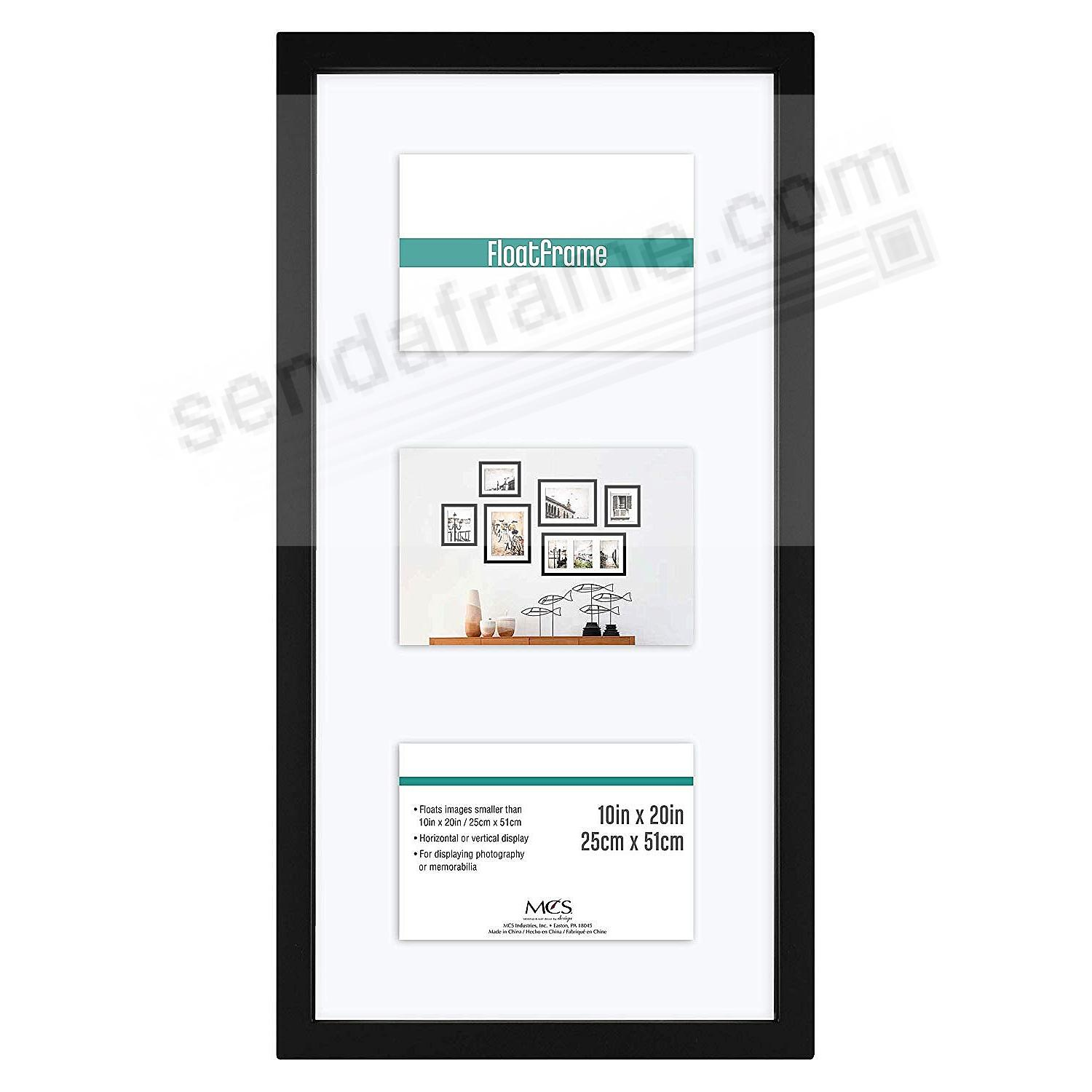 The original FLOAT <u>and</u> DOUBLE-SIDED 5x7/8x18 black stain flexible size wall frame