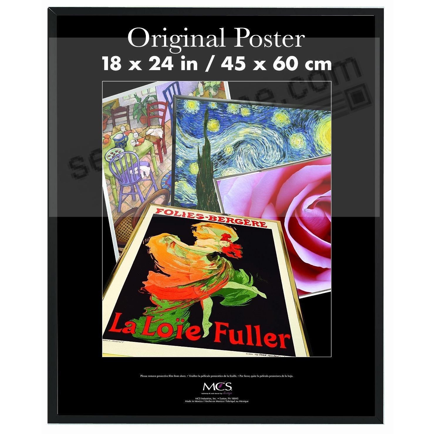 Black plastic POSTER 18x24 size frame with Masonite Backing