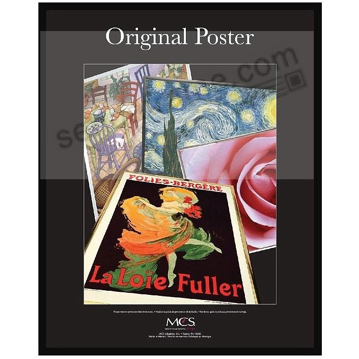 Black plastic POSTER size frame with Corrugated Backing