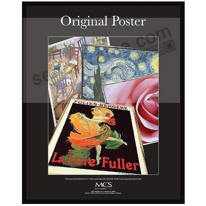 Black plastic POSTER size frame with Corrugated Backing by MCS®