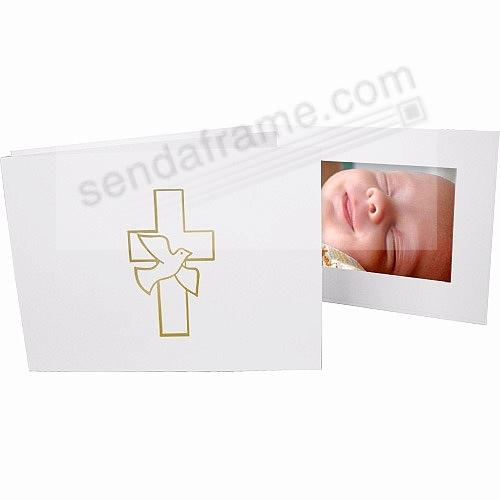 Dove & Cross foil on white cardboard photo folder frame