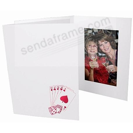 Casino foil<br>on white cardboard photo folder frame