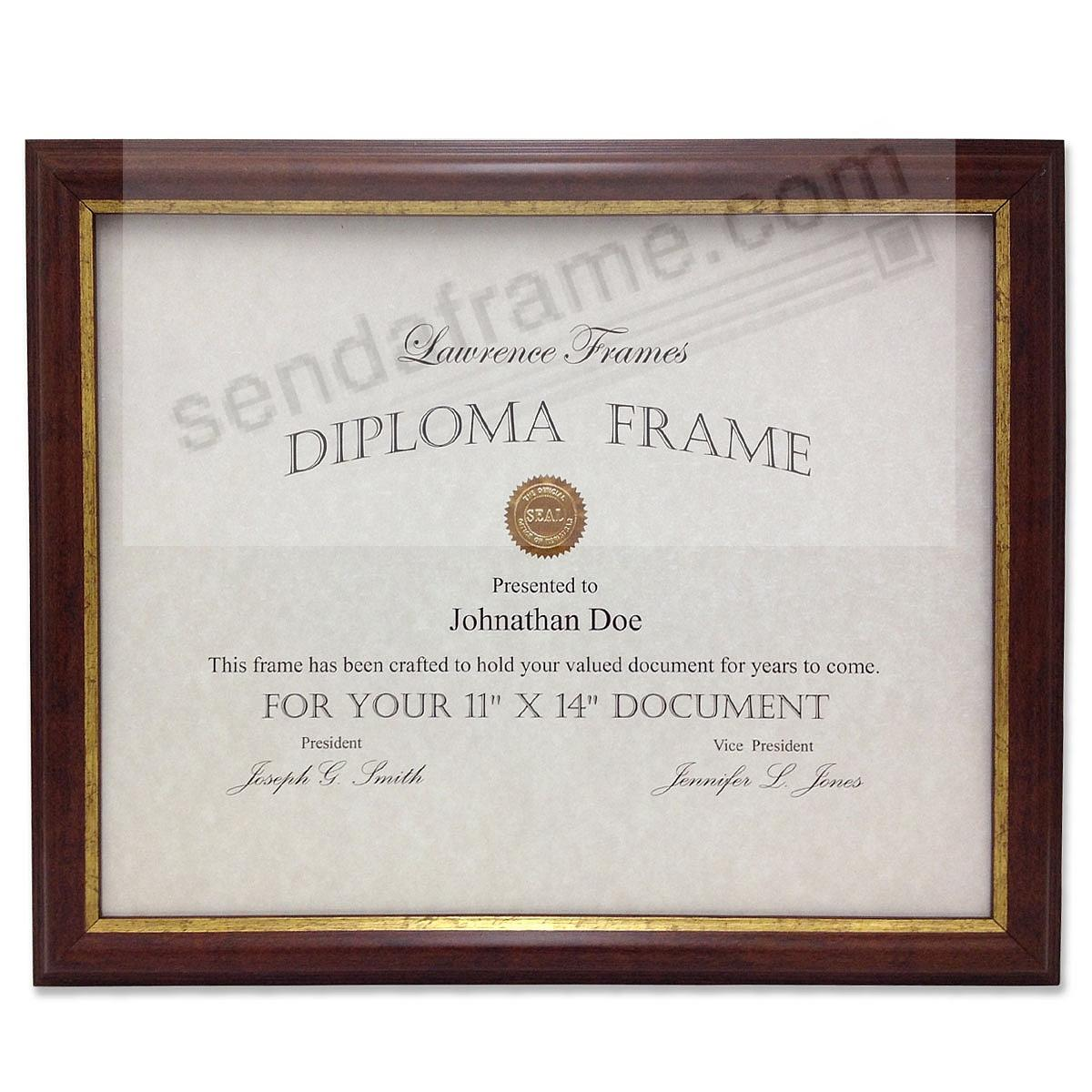 Economical Walnut & Gold Document by Lawrence Frames®