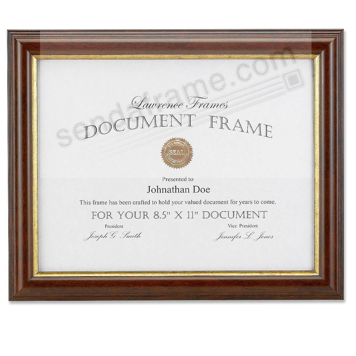 Ridged Walnut & Gold Document by Lawrence Frames®
