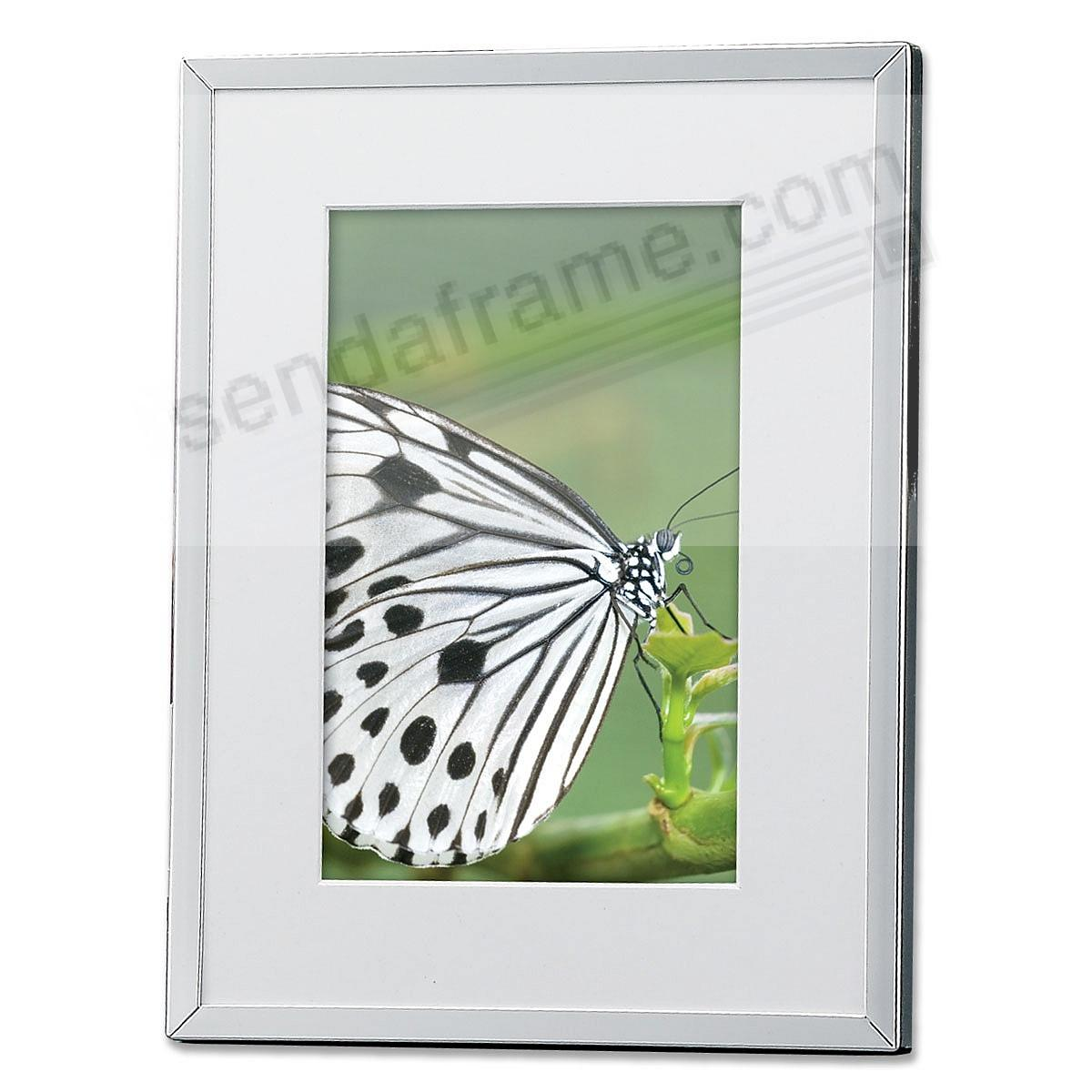 Polished-Silver matted 6x8/4x6 frame by Lawrence Frames®