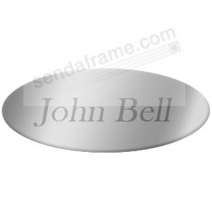 Engravable aluminum 2 x 13/16 oval permanent-stick nameplate