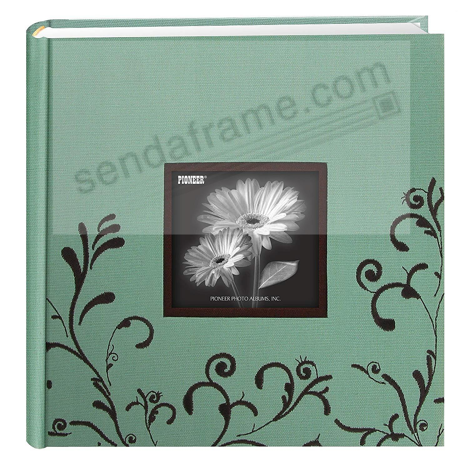 Aqua & Brown Embroidered 2-up photo album by Pioneer®