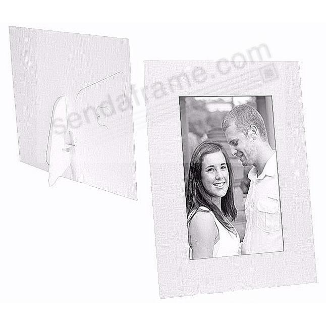 White cardstock photo DUAL EASEL 5x7 frame w/plain border (sold in 25s)
