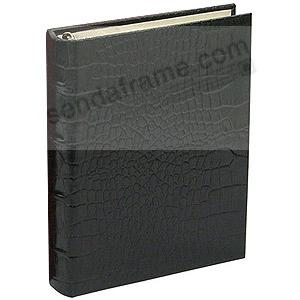 Black Crocodile-look Leather 1-up Clear Pocket 3-ring Album<br>by Graphic Image&trade;