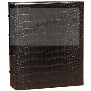 Brown Crocodile-look Leather 1-up Clear Pocket 3-ring Album<br>by Graphic Image&trade;