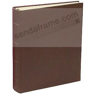 Mocha-Brown Leather 1-up Clear Pocket 3-ring Album<br>by Graphic Image&trade;