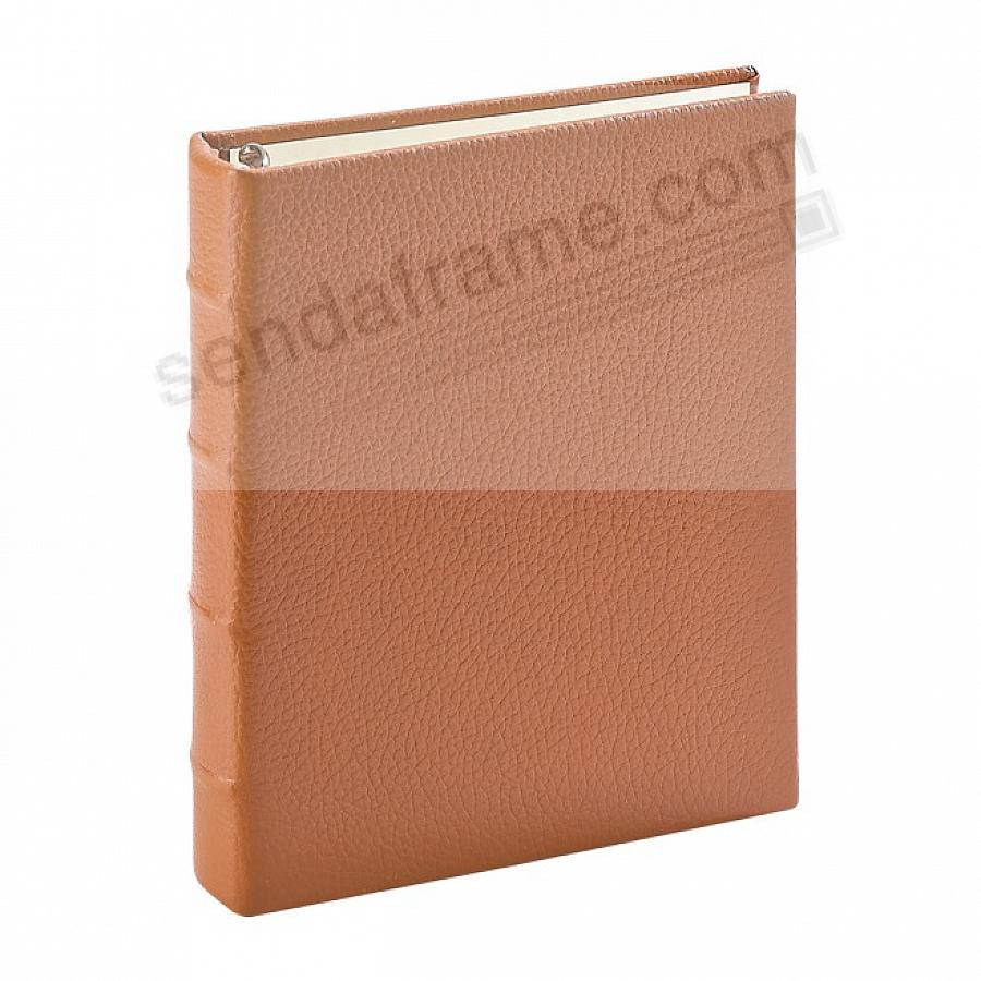 Traditional British-Tan Leather 1-up Clear Pocket 3-ring Album<br>by Graphic Image&trade;