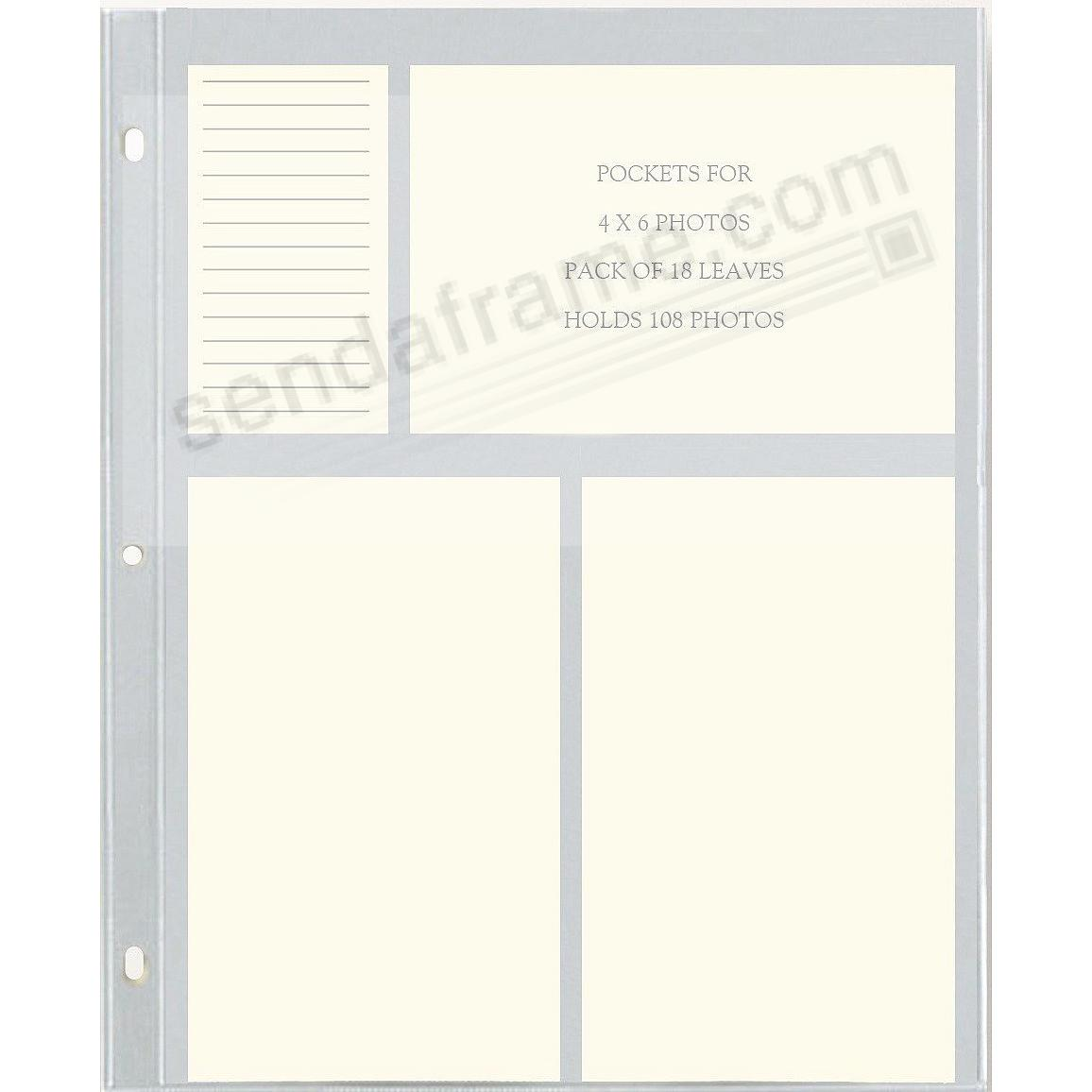 Genuine Graphic Image™ slip-in 4x6 pocket refill pages for standard 3-ring albums