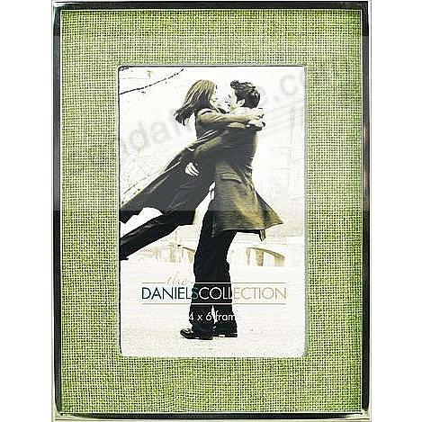 Polished Silverplate 4x6 frame w/Sage Linen mat by Dennis Daniels®