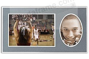 Player/Team 10x8/5x7 Gray Cardstock double photo frame (sold in 10's)