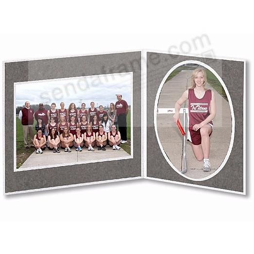 Player/Team 7x5/5x7 Gray Cardstock double photo frame (sold in 10's)