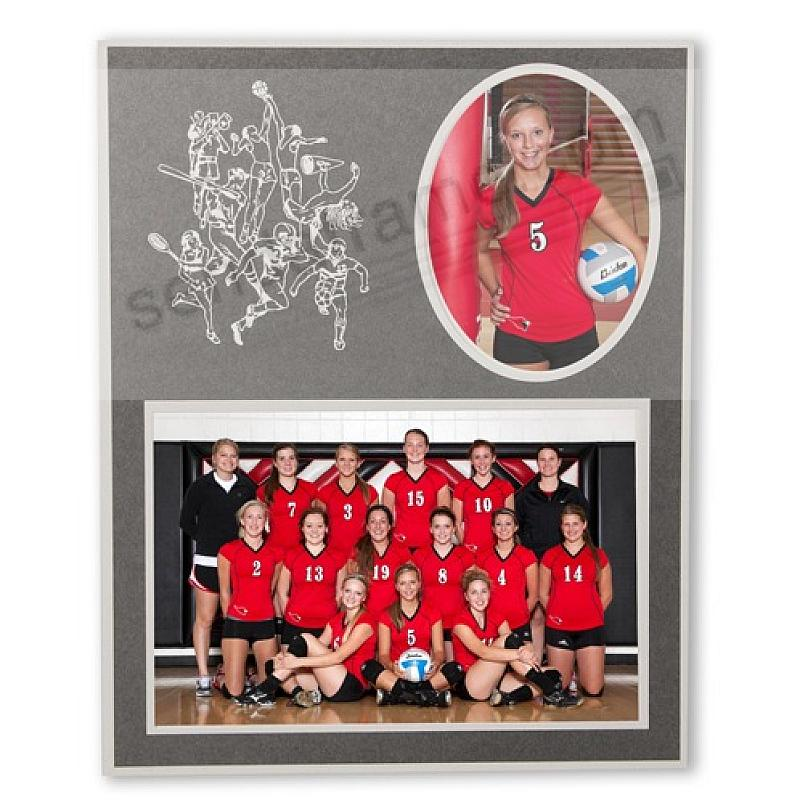 SPORTS Player/Team 7x5/3x5 sports MEMORY MATES Gray cardstock double photo frame (sold in 10's)