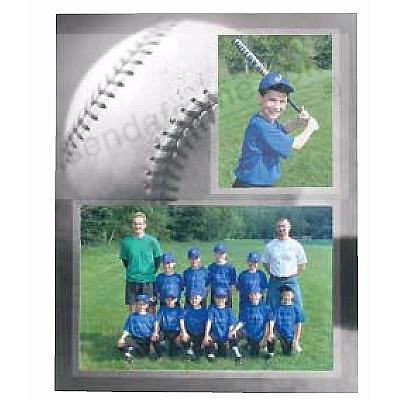BASEBALL Player/Team 7x5 + 3½x5 MEMORY MATES cardstock double photo frame (sold in 10's)