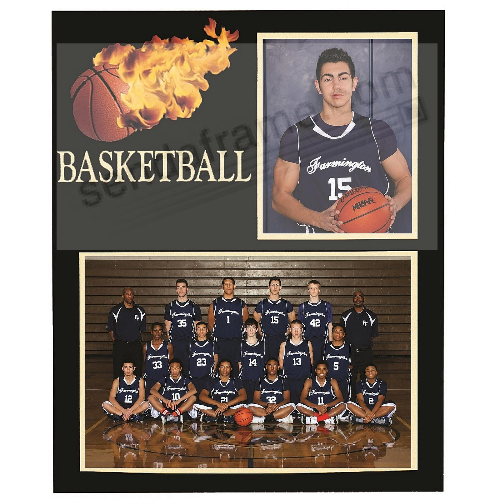 Basketball Player/Team 7x5/3½x5 SPORTSMATES cardstock double photo frame (sold in 10's)