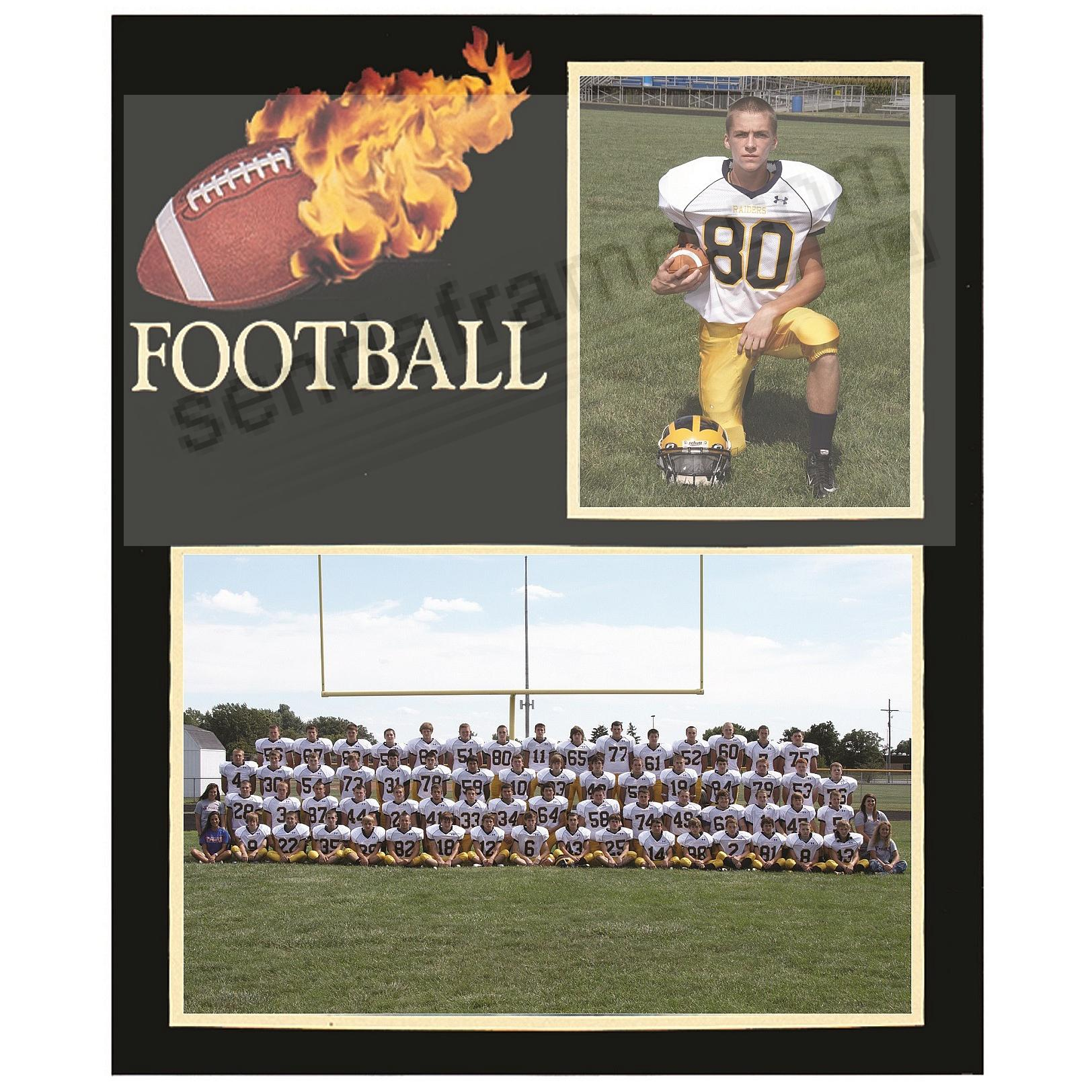 Football Player/Team 7x5/3½x5 MEMORY MATES cardstock double photo frame (sold in 10's)
