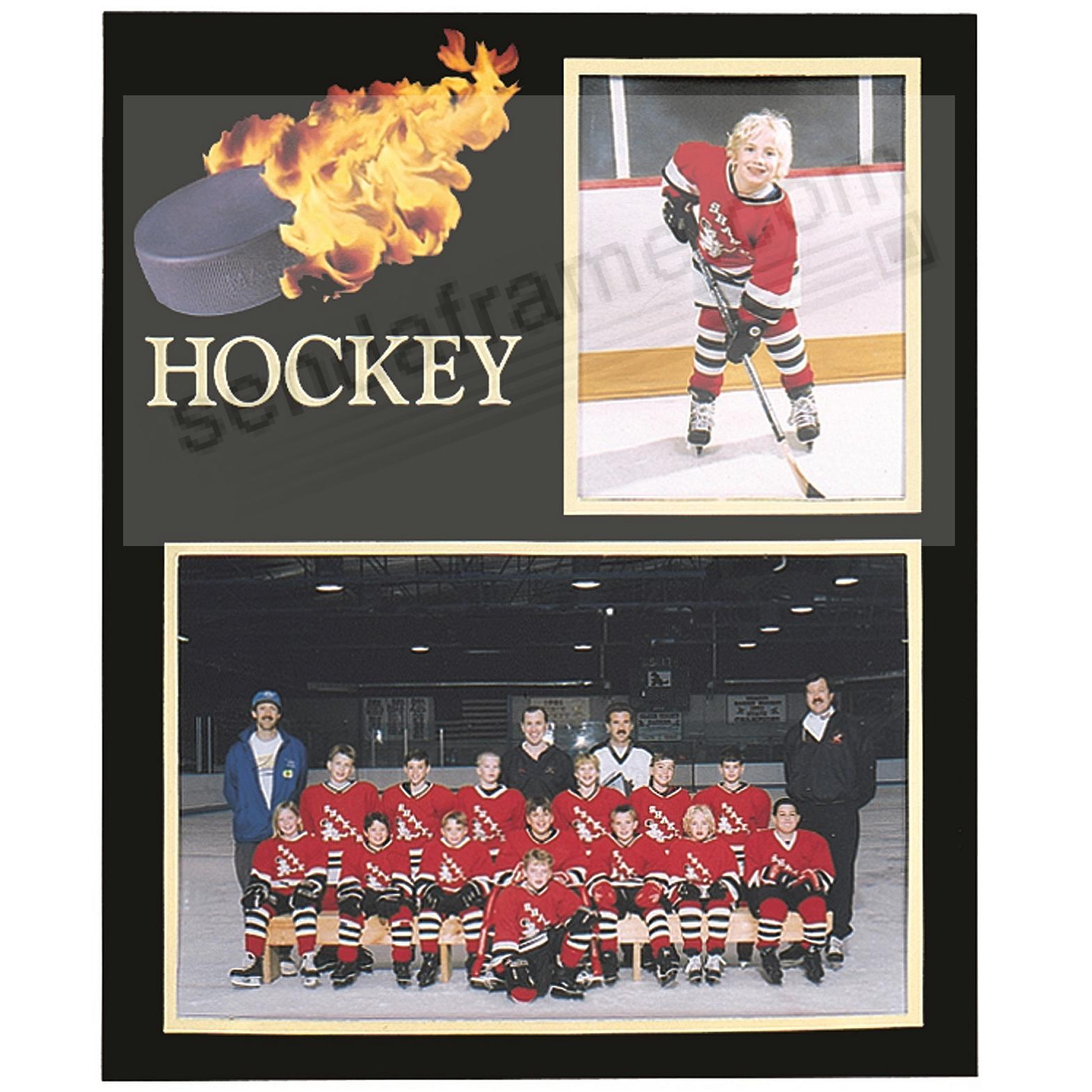 Hockey Player/Team 7x5/3½x5 MEMORY MATES cardstock double photo frame (sold in 10's)
