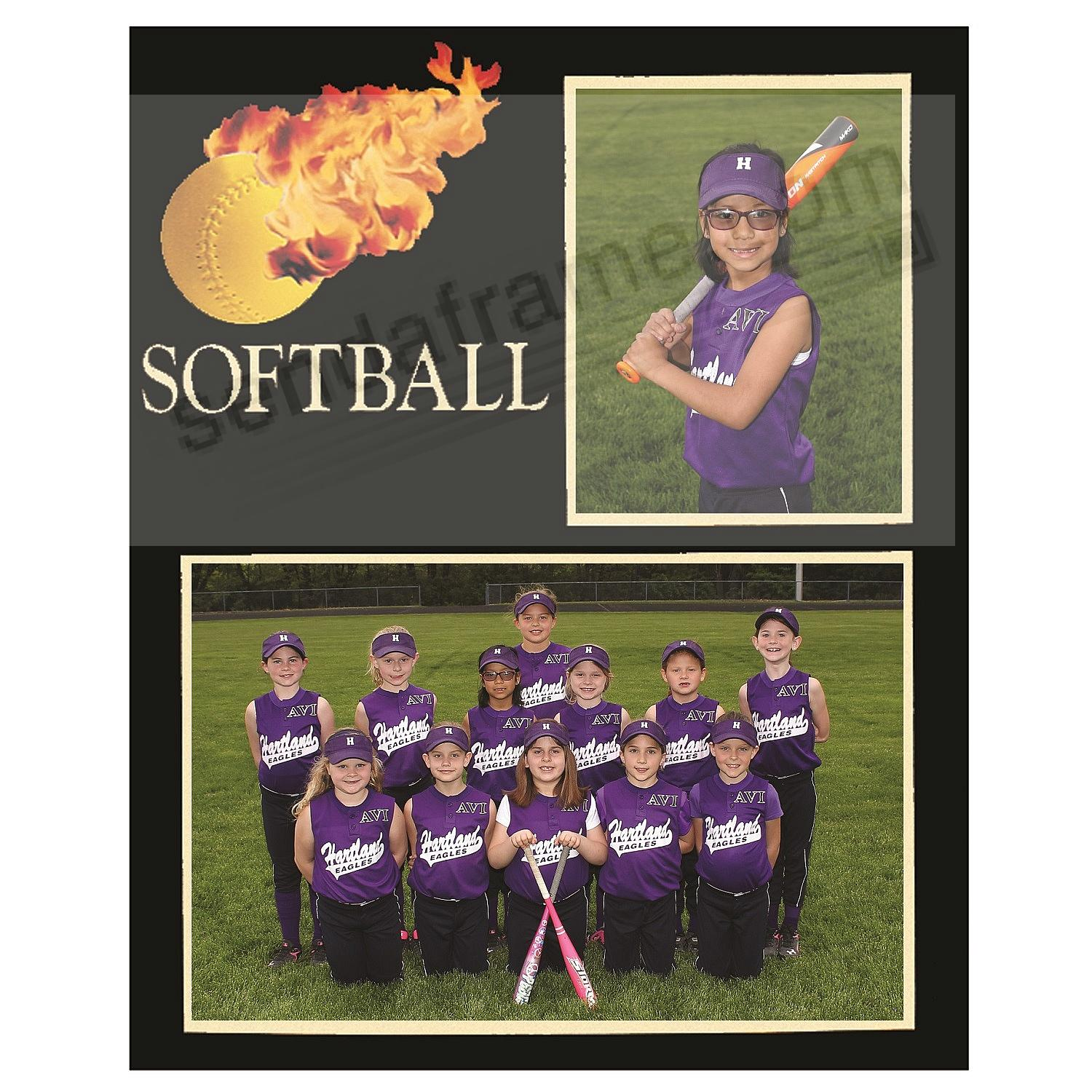 Softball Player/Team 7x5/3½x5 MEMORY MATES cardstock double photo frame (sold in 10's)