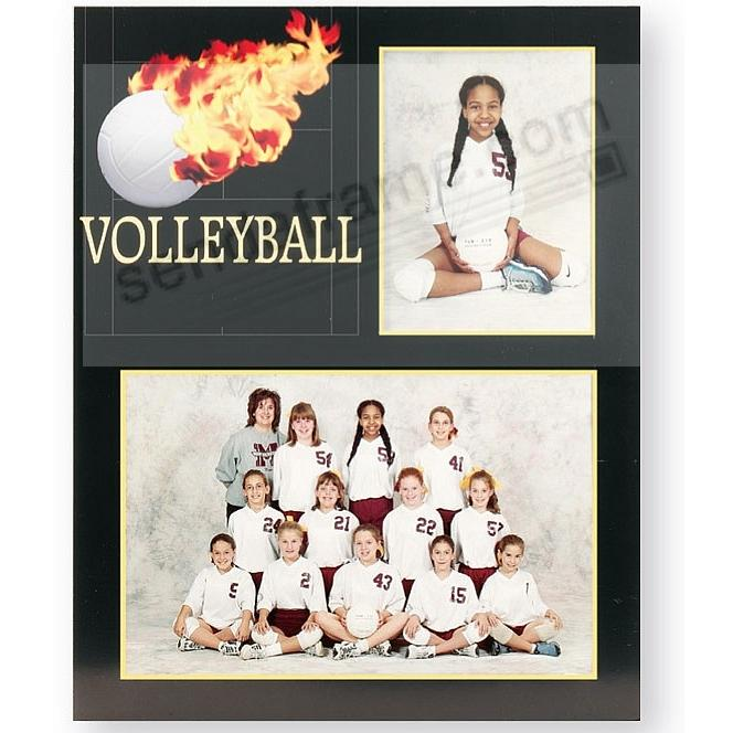 Volleyball Player/Team 7x5/3½x5 MEMORY MATES cardstock double photo frame (sold in 10's)