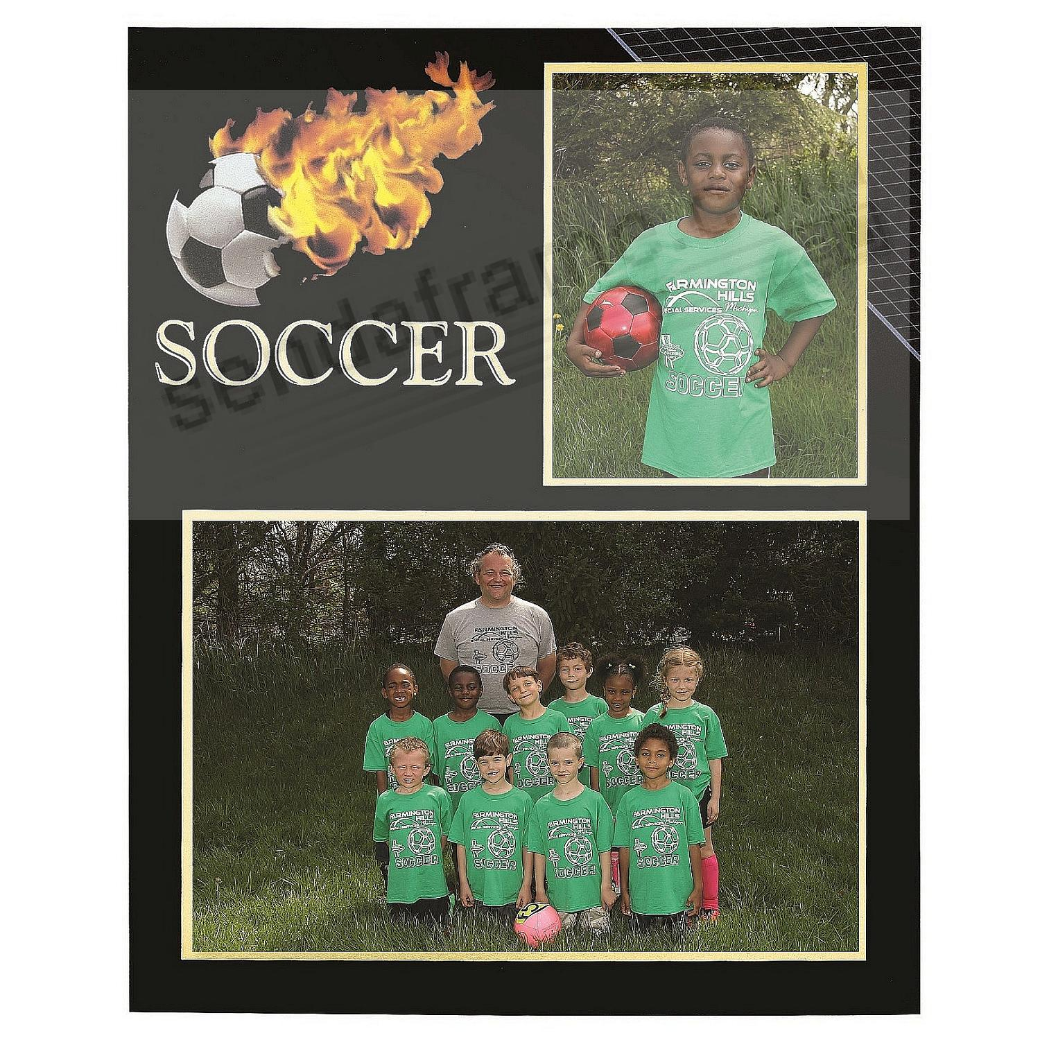 Soccer Player/Team 7x5/3½x5 MEMORY MATES cardstock double photo frame (sold in 10's)