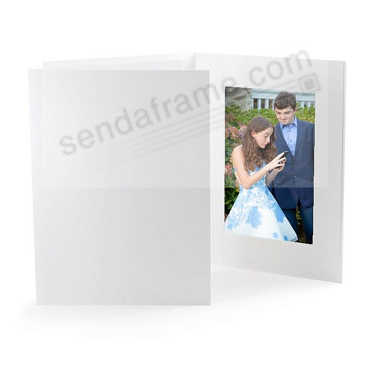 ECONOMY White Smooth Cardstock Paper Photo Folder Single 4x6 Frame w/plain border (sold in 25s)