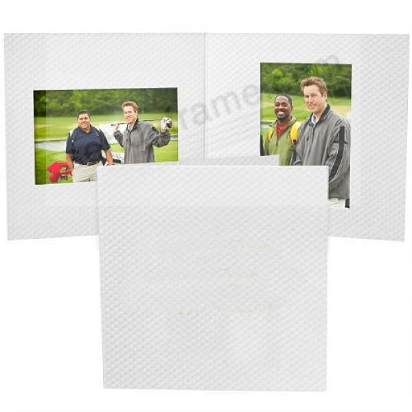 Golf-Ball Dimpled white 'Mixed-Double' cardboard folder for (2) 4x6 prints