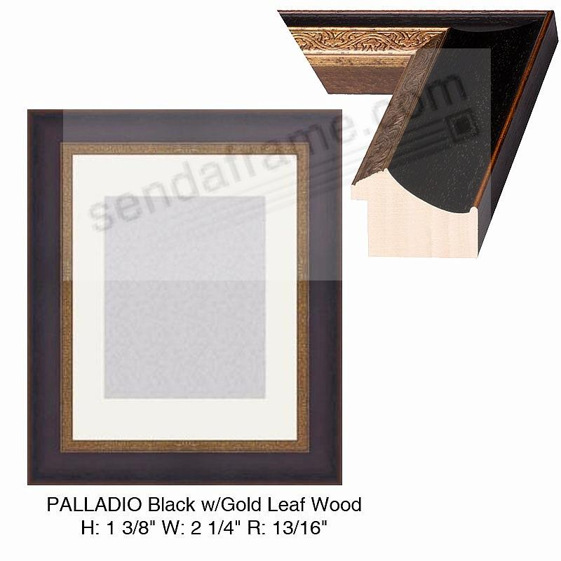 Custom-Cut™ PALLADIO in Black w/Gold-Leaf moulding H:1-3/8 W:2-1/4 R:13/16