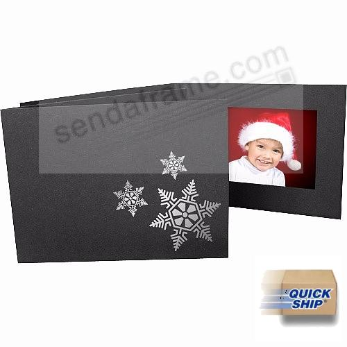 Snowflakes foil<br>on black cardboard photo folder frame
