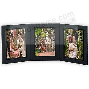 PROMENADE Triple 5x7 Black cardstock photo frame / black foil border (sold in 10's)