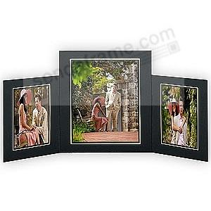 PROMENADE Triple: 5x7 / 8x10 Black cardstock photo frame w/ gold foil border (sold in 10's)