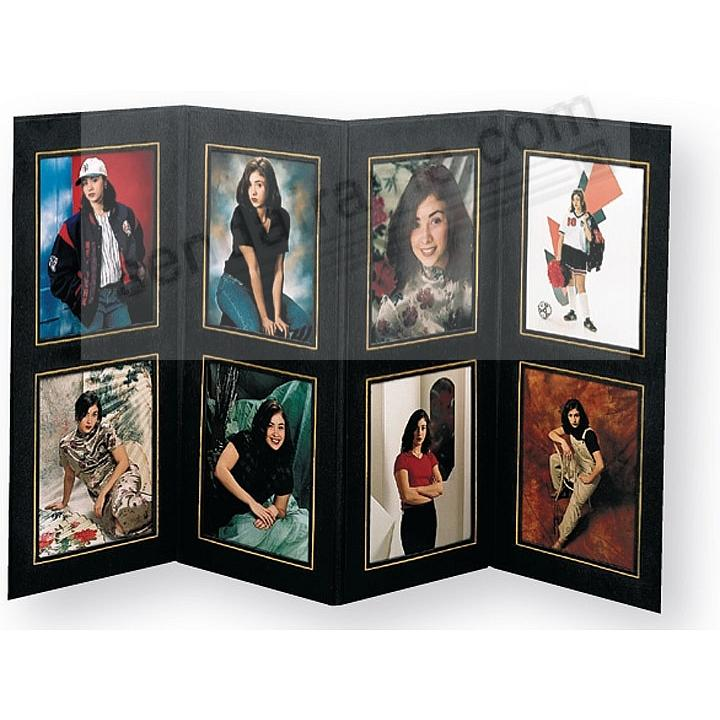 8-opening 4x5 Black w/gold foil border cardstock photo frame (sold in 10's)