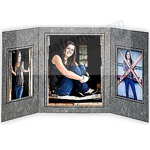 Triple 5x7/10x8 Black Marble w/black foil border cardstock photo frame (sold in 10's)