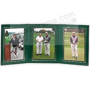 PRESIDENTIAL Triple 5x7 Green leatherette stock photo frame w/gold foil border (sold in 10's)