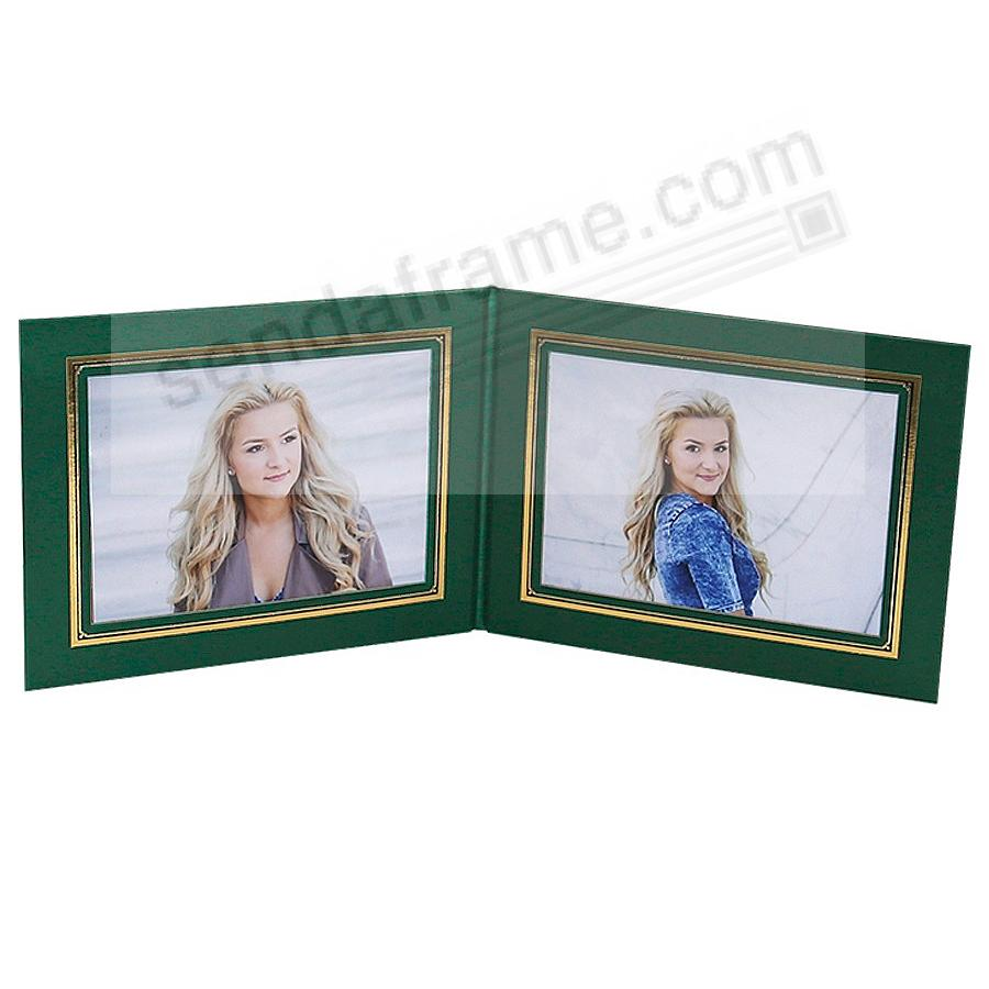 PRESIDENTIAL Double 7x5 Green leatherette stock photo frame w/gold foil border (sold in 10's)