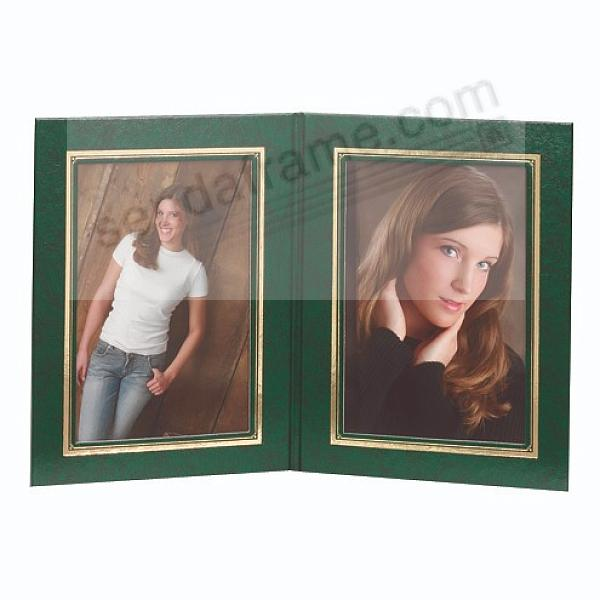 PRESIDENTIAL Double 5x7 Green leatherette stock photo frame w/gold foil border (sold in 10's)