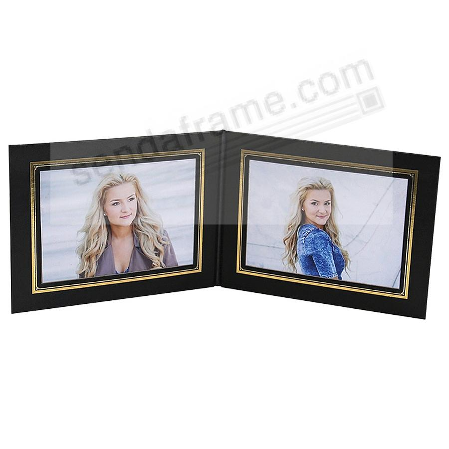 PRESIDENTIAL Double 6x4 Black leatherette stock photo frame w/gold foil border (sold in 10's)