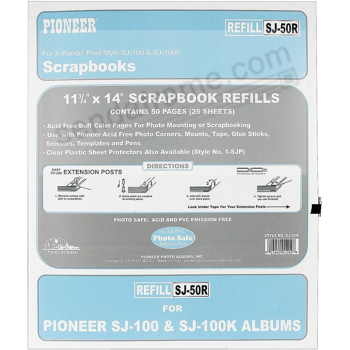 Genuine Pioneer® Scrapbook Refill Pages for Album Model #SJ100