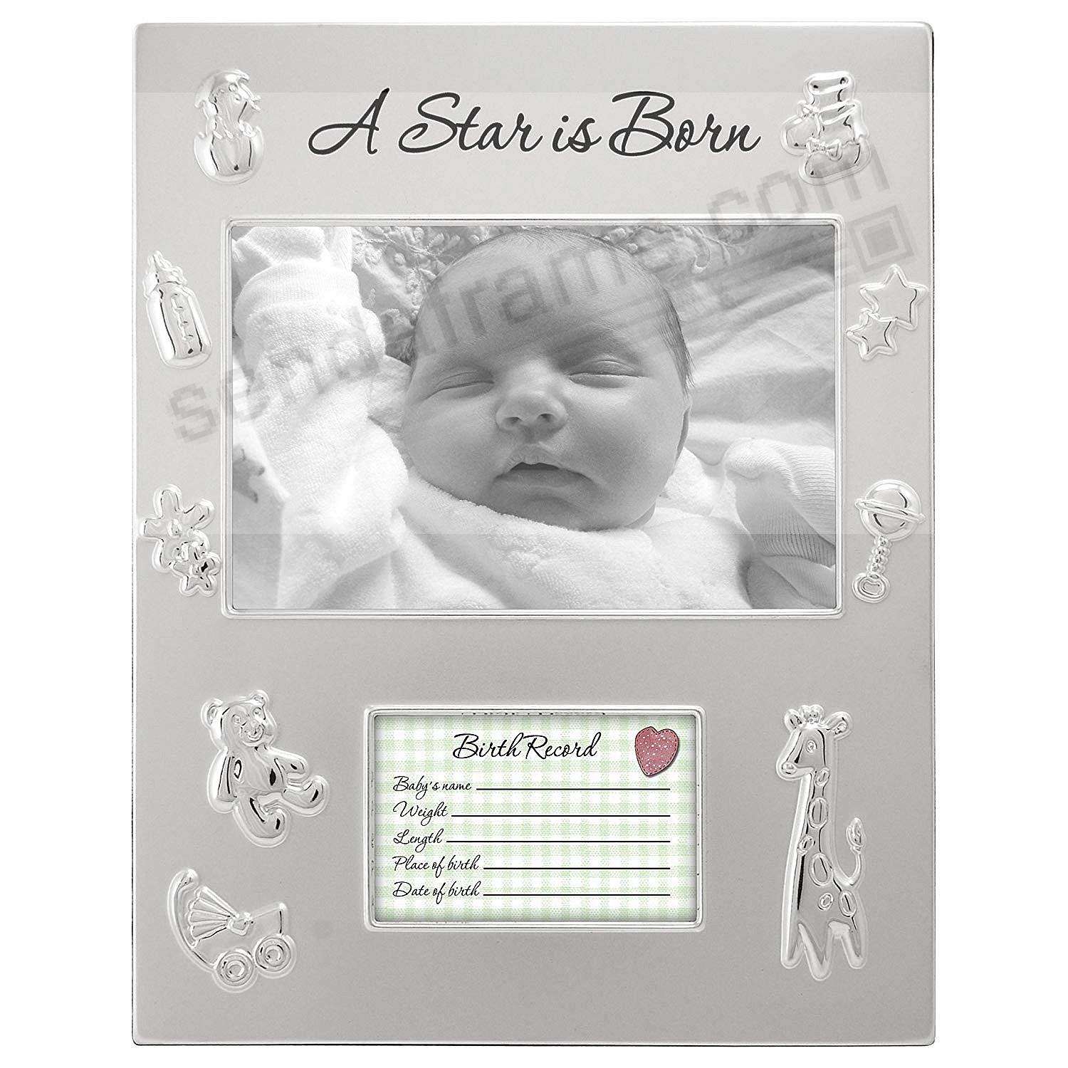 A STAR IS BORN silver baby birthrecord frame by Malden® - Picture ...