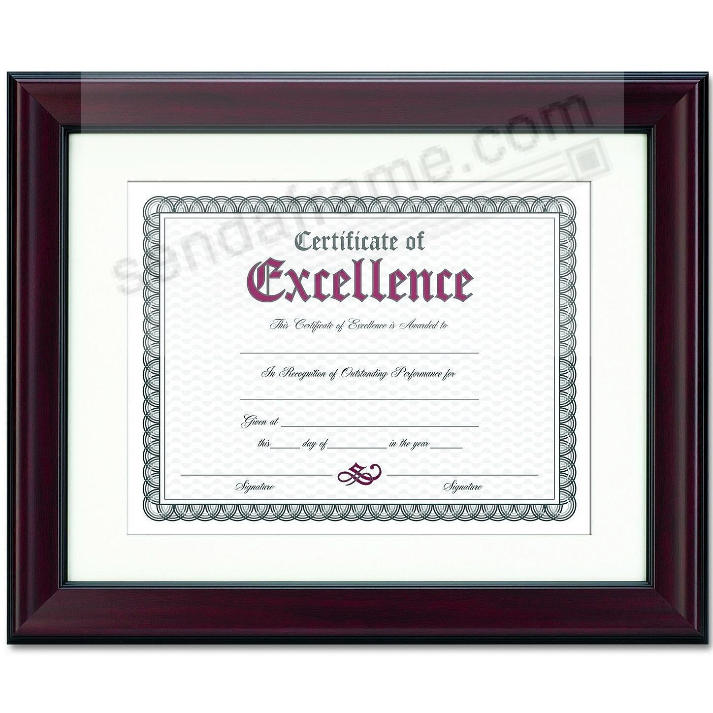 Rosewood/Black Certificate double matted frame by DAX/Connoisseur®