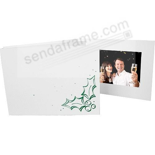 Holly Holiday foil<br>on white cardboard photo folder frame