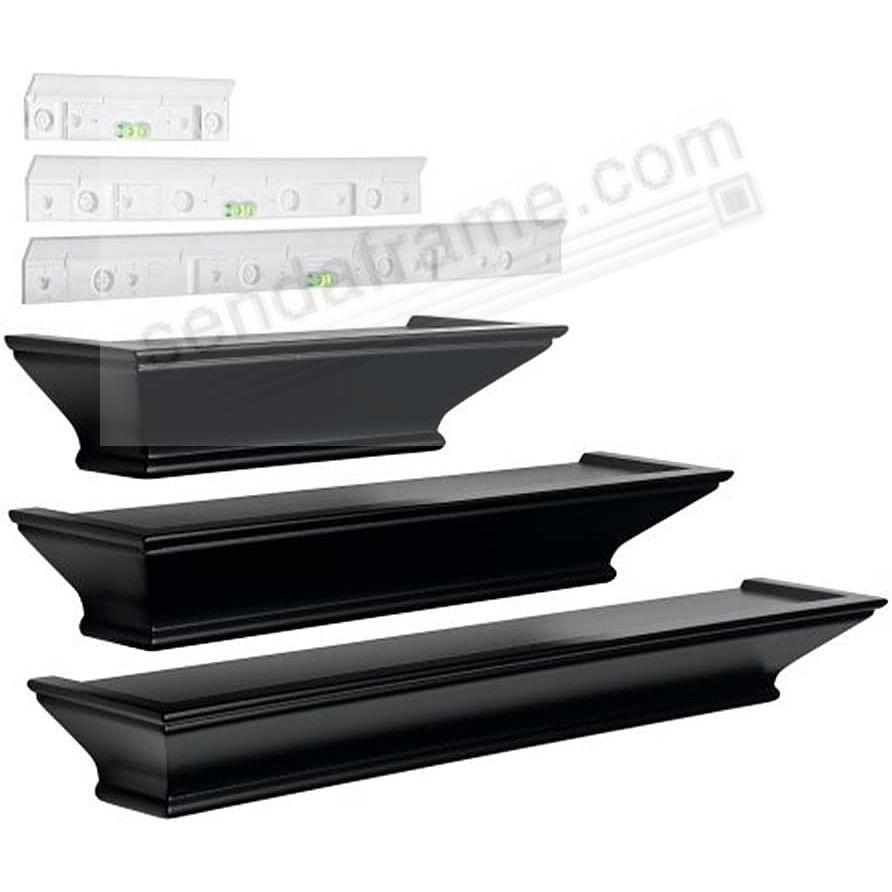 METROPOLITAN black wall ledges (set of 3) by Level-Line™